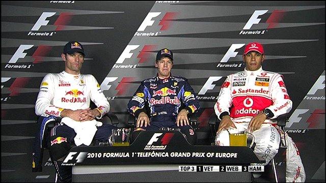 Mark Webber, Sebastian Vettel and Lewis Hamilton.