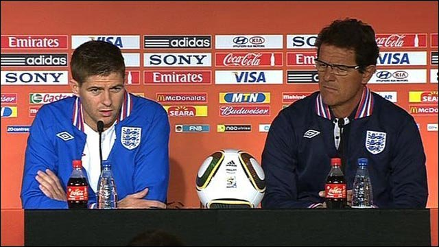 England captain Steven Gerrard and coach Fabio Capello