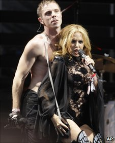 Jake Shears and Kylie Minogue on stage at Glastonbury