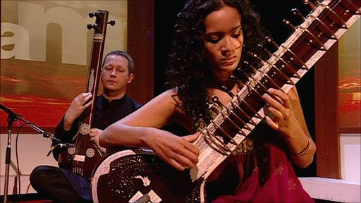 Anoushka Shankar playing the sitar