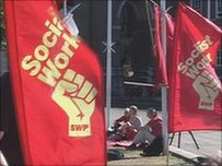 Flags at a demonstration