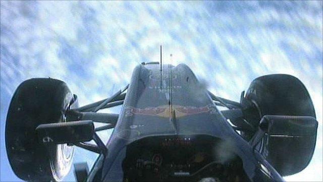 Mark Webber's car flips in the air