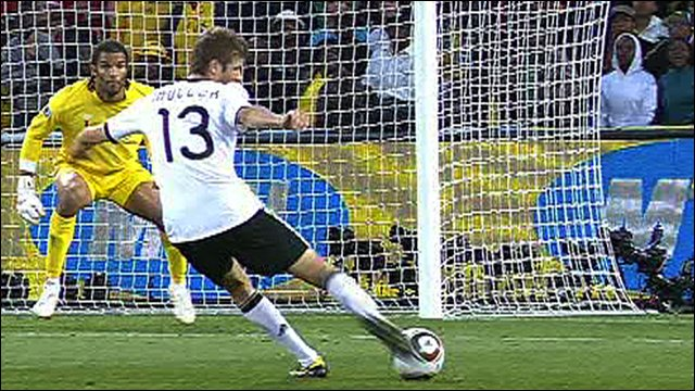 Thomas Mueller scores for Germany