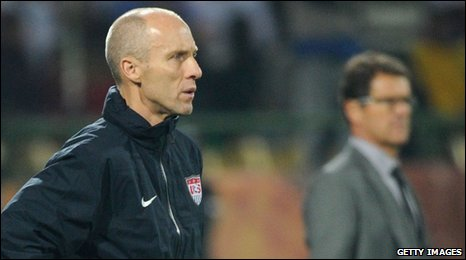 Bob Bradley (left) takes charge of the USA against England at the 2010 World Cup in South Africa