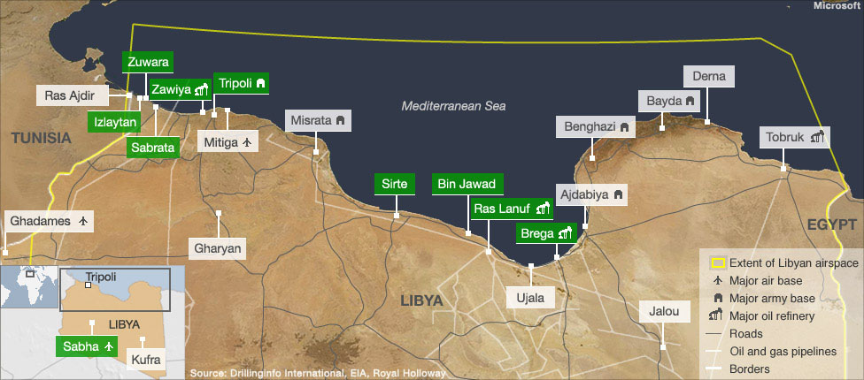 Map highlighting Gaddafi controlled areas