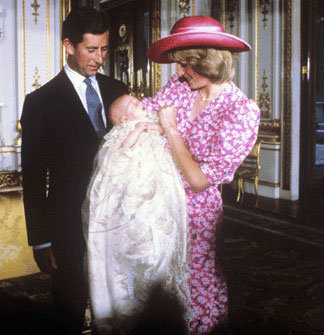 Prince William with his mother and father after his christening