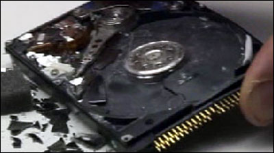 Extreme experiments to destroy a hard drive
