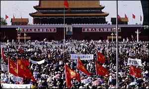 Pro-democracy students in Tiananmen Square before crackdown