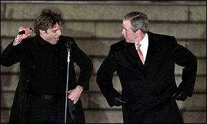 Geroge W Bush and Ricky Martin