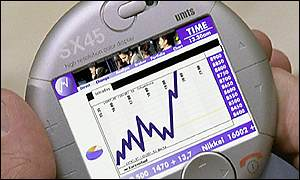 Tracking share prices on a Siemens concept 3G terminal
