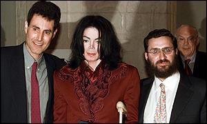 Michael Jackson with Uri Geller and  Rabbi Shmuley Boteach