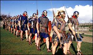 A modern-day mock up of Roman soldiers