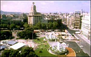 Panorama of Plaza Catalan in Barcelona