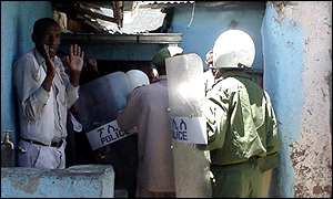 Police corner a demonstrator