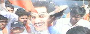 A burning effigy of Mohammad Azharuddin