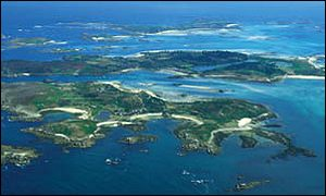 Bryher (foreground), Tresco and St Martin's