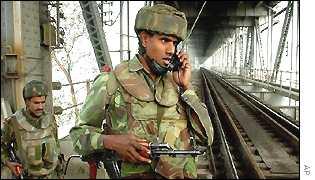 Soldiers on Assam's Brahmaputra bridge