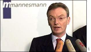 Former Mannesmann boss Klaus Esser in November 1999, after rejecting Vodafone's initial approach