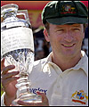 Steve Waugh holds the Ashes replica trophy