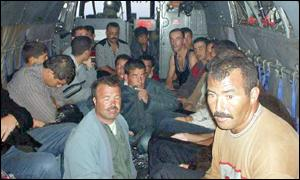 Moroccan immigrants on helicopter