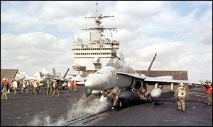 F/A-18C prepares to launch from the USS Enterprise