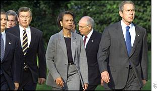 President Bush with Condoleezza Rice (centre) and other advisers