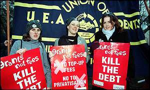students demonstrating against debt