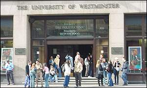 Students outside Westminster University