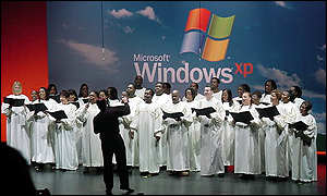 Choir at Microsoft Windows XP launch ceremonies in New York