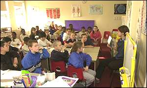 A teacher and pupils in a UK classroom
