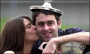 Ronnie O'Sullivan celebrates victory in the World Championship