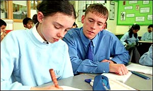 Trainee geography teacher Lee Molyneux with pupil