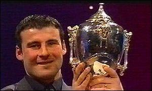 Joe Calzaghe pictured with the winner's trophy