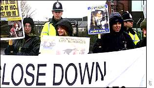 Animal rights demonstration outside Huntingdon research lab
