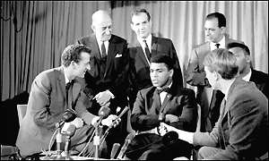Muhammad Ali speaks to a group of English journalists in 1966