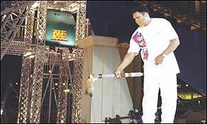 Muhammad Ali lights the Olympic cauldron at the Atlanta Games in 1996