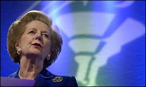 Baroness Thatcher praising William Hague