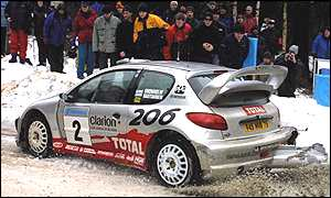 Marcus Gronholm in the Peugeot in Sweden