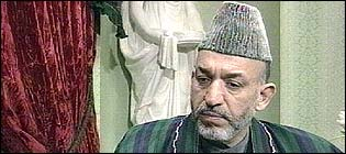 Leader of the interim government in Afghanistan Hamid Karzai