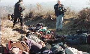 Investigators at the scene of Racak massacre