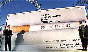Health Secretary Alan Milburn unveils an anti-smoking campaign