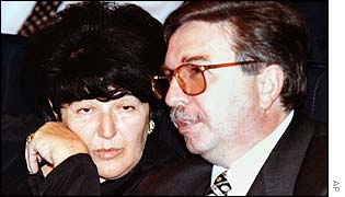 Slobodan Milosevic's wife, Mira Markovic, with Mr Sainovic, in 1997