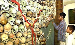 Victim's skulls on display at genocide museum