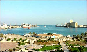 The Harbour at Port Sudan through the breakwaters of the Red Sea
