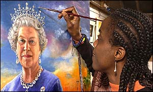 Artist painting portrait of the Queen