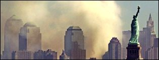 Smoke over Manhattan after the September 11th terrorist attack