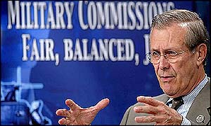 Donald Rumsfeld explains the structure of the military commissions