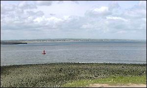 South Gare, looking over Tees Bay to Hartlepool
