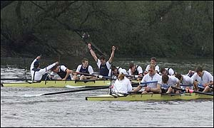 Oxford celebrate after crossing the line ahead of Cambridge