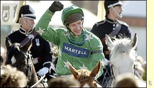 Jim Culloty celebrates his Gold Cup-Grand National doubl